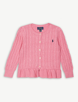 RALPH LAUREN Frilled hem cotton cardigan 2-6 years