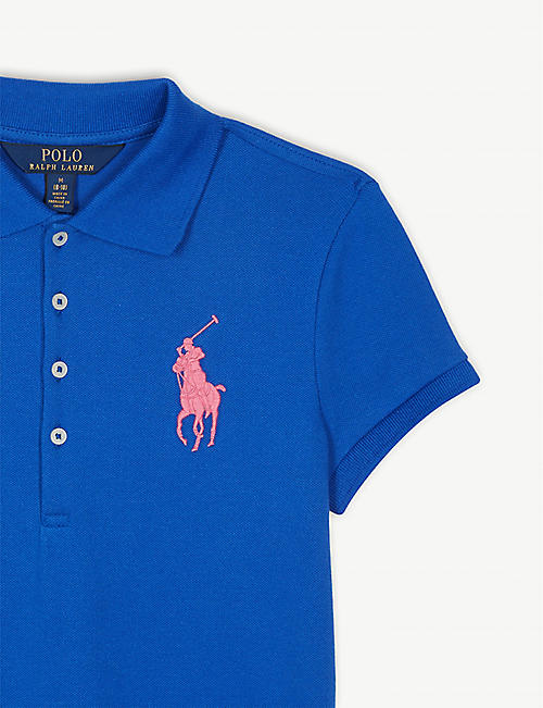 b91d67d5fde RALPH LAUREN Logo cotton-blend polo dress 7-14 years
