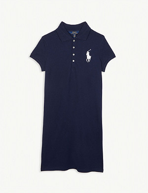 RALPH LAUREN Logo cotton-blend polo dress 7-14 years