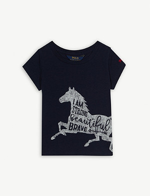 RALPH LAUREN Strong horse print cotton T-shirt 2-14 years