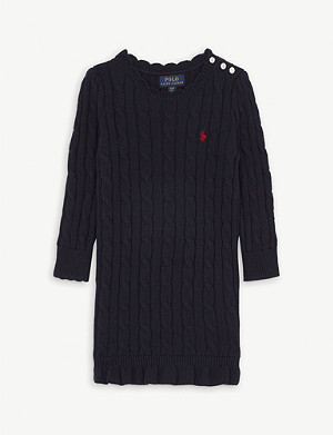 RALPH LAUREN Logo-embroidered cotton shirt dress 2-16 years