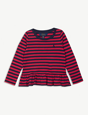 RALPH LAUREN Striped cotton peplum top 2-9 years