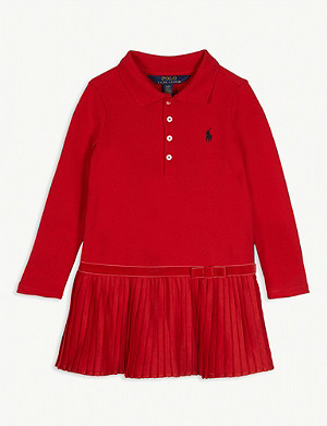 RALPH LAUREN Pleated logo cotton-blend polo dress 2-4 years