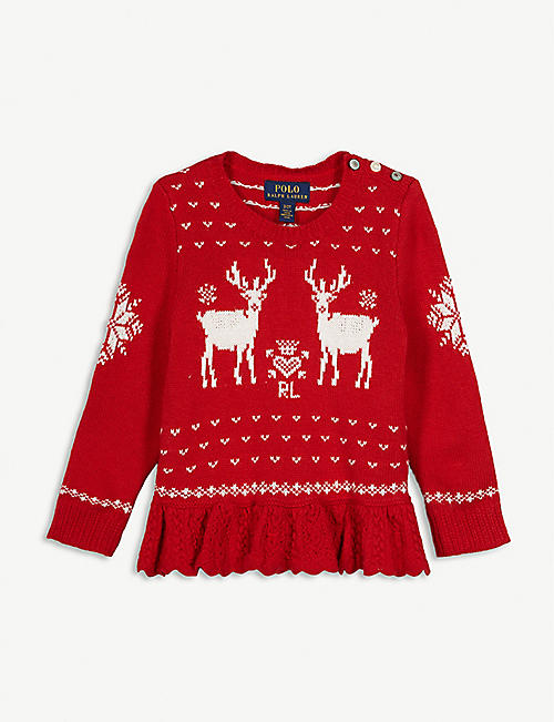 RALPH LAUREN Reindeer pleated wool jumper