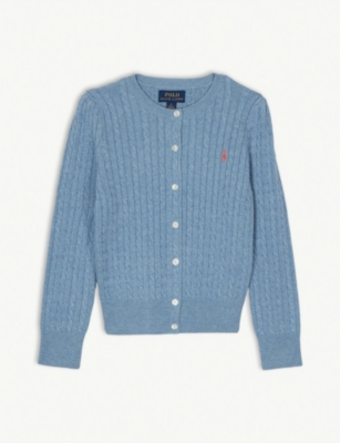 RALPH LAUREN Cable knit cotton cardigan 7-14 years