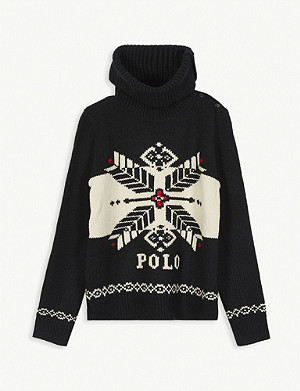 RALPH LAUREN Snowflake roll neck jumper 7-14 years