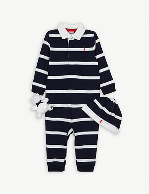 RALPH LAUREN Cotton three-piece gift set 3-9 months