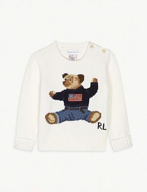 RALPH LAUREN Bear cotton jumper 3-36 months