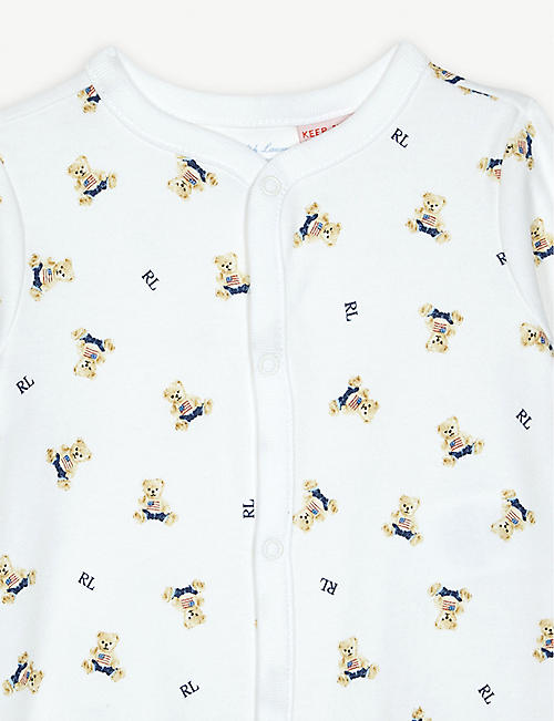 RALPH LAUREN Bear-print cotton sleepsuit 3-9 months