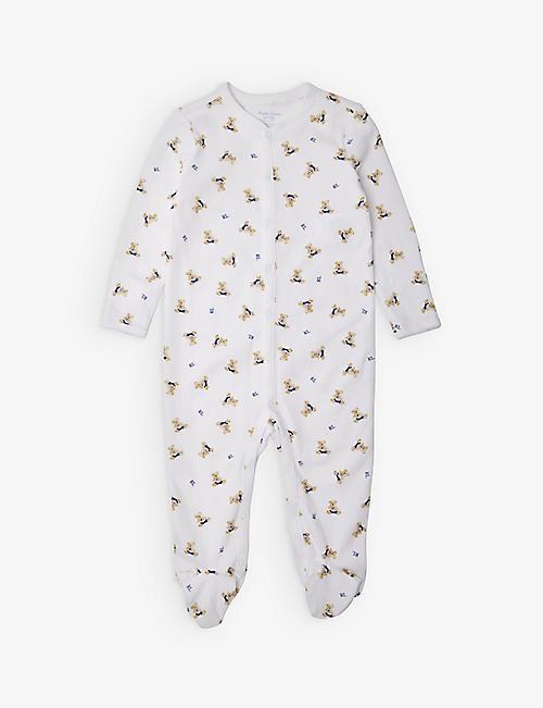 700eb4510 RALPH LAUREN Bear-print cotton sleepsuit 3-9 months