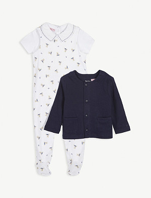 RALPH LAUREN Polo Bear print cotton three-piece set 0-36 months