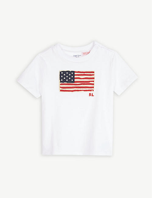 7d2684e129fd RALPH LAUREN Flag appliqué cotton T-shirt 12-36 months