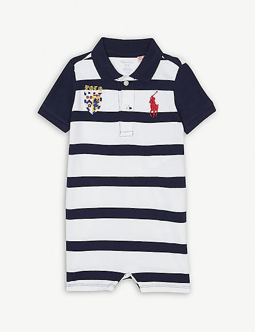 398b65f76604 RALPH LAUREN Logo crest cotton shortall 3-12 months