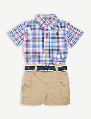 RALPH LAUREN Check cotton shirt and shorts set 3-24 months