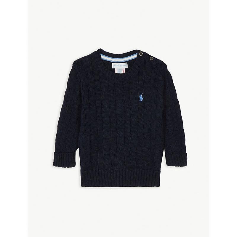 RALPH LAUREN | Cable Knit Cotton Jumper 3-24 Months | Goxip