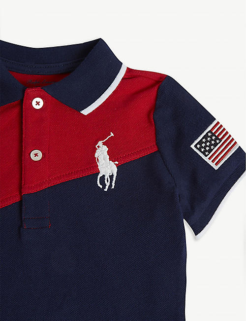 f128bb672 RALPH LAUREN Block panel cotton shortall 3-24 months