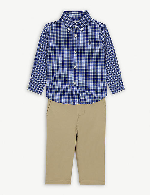 RALPH LAUREN Logo cotton check shirt and chinos set 3-24 months