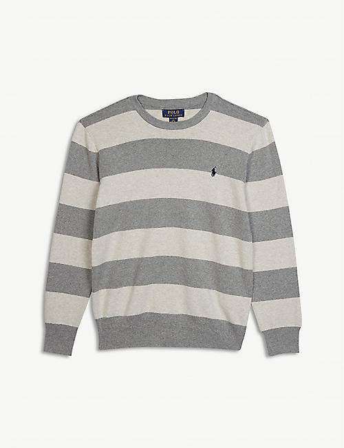 bad2b49cf RALPH LAUREN Embroidered-logo striped cotton-jersey jumper 2-7 years