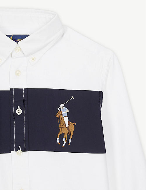 RALPH LAUREN Embroidered logo cotton-blend Oxford shirt 2-14 years