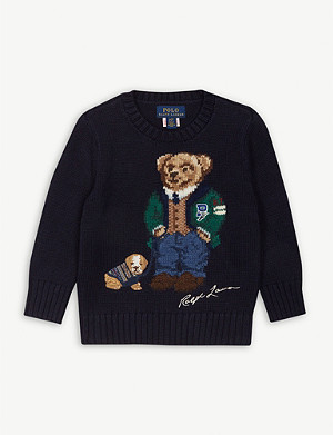 RALPH LAUREN Teddy bear and dog cotton and wool-blend jumper 2-9 years