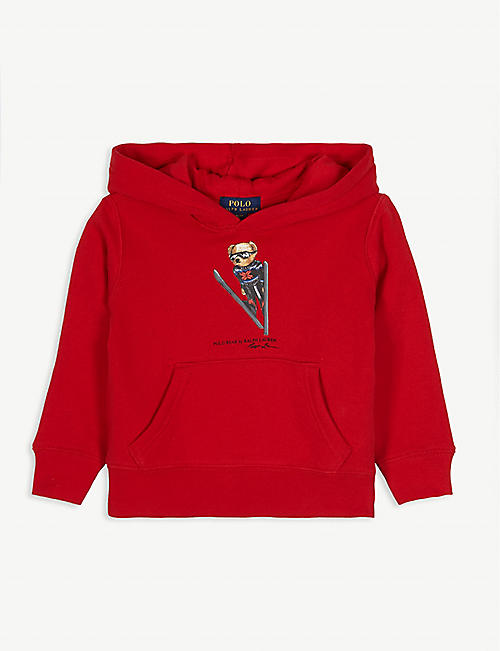 RALPH LAUREN Skiing polo bear cotton-blend hoody 2-16 years