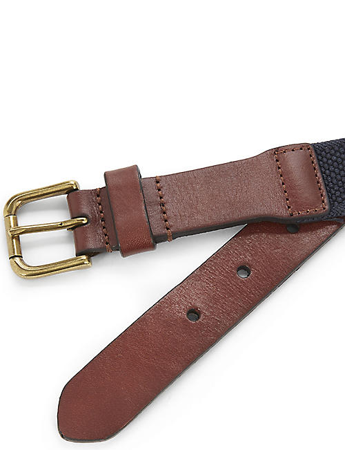 RALPH LAUREN Elasticated canvas and leather belt