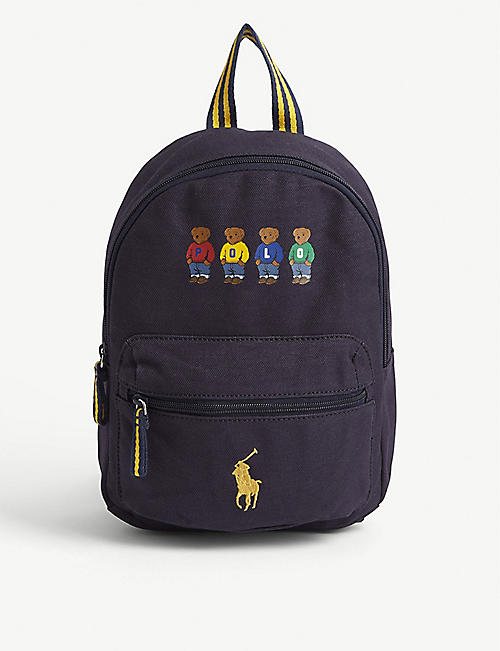 RALPH LAUREN Polo Bear print canvas backpack