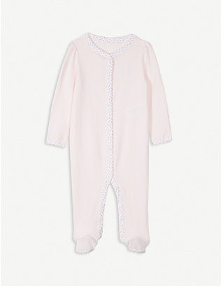 RALPH LAUREN: Embroidered logo cotton bodysuit 1-9 months