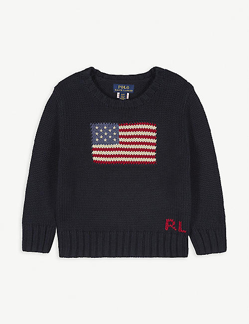 RALPH LAUREN Flag-print knitted cotton jumper 3-24 months
