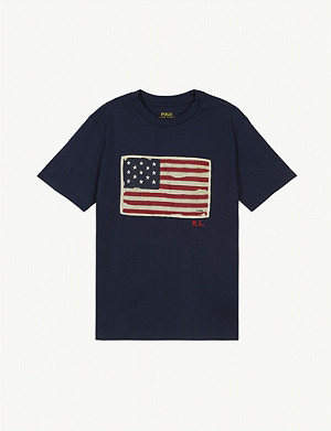 RALPH LAUREN Flag logo cotton T-shirt 2-14 years