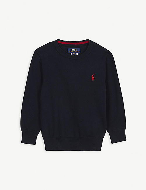 RALPH LAUREN: Embroidered logo cotton jumper 2-4 years
