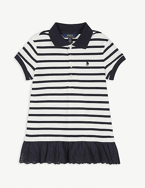 RALPH LAUREN Embroidered peplum polo shirt dress