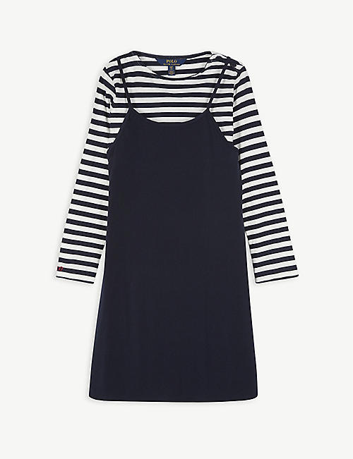 RALPH LAUREN Striped woven top and A-line dress set 10-16 years
