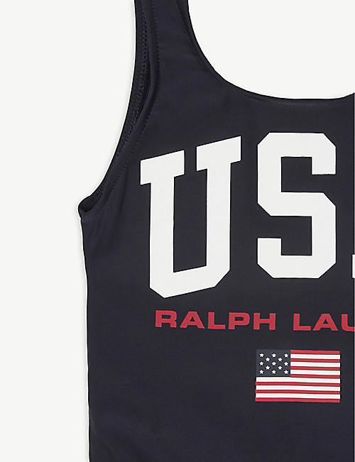 RALPH LAUREN USA logo-print swimsuit 2-14 years