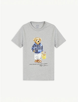 RALPH LAUREN: Bear print cotton T-shirt 2-14 years