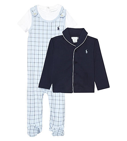 e86892208b RALPH LAUREN Polo cotton three piece pyjama set 3-9 months (Beryl+blue