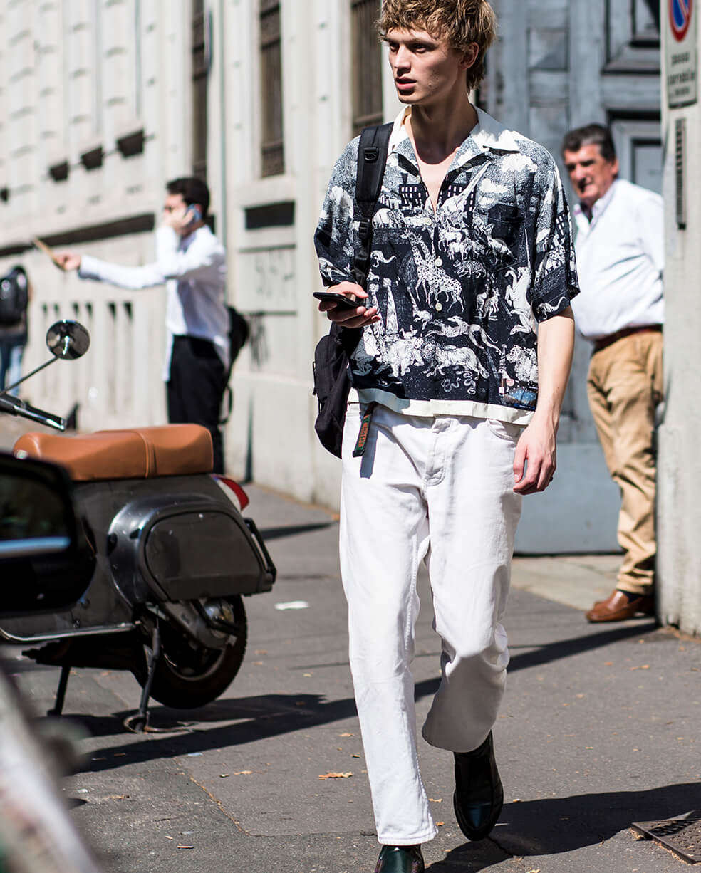 White denim menswear