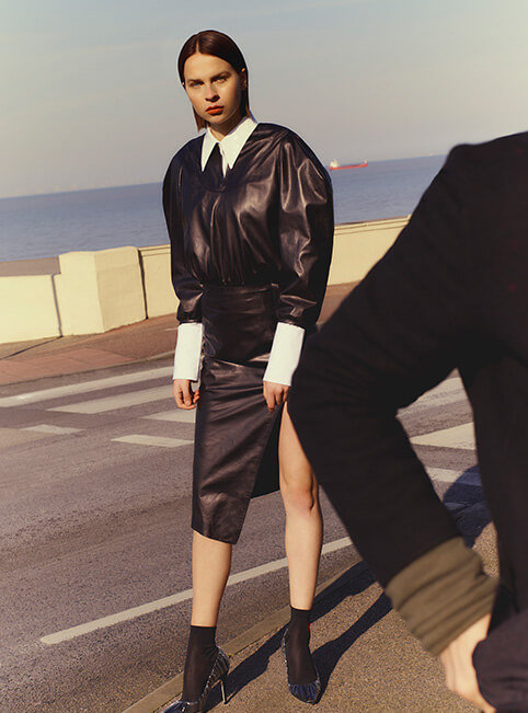 44567a2cd64e Off-White c o Virgil Abloh – leather dress (coming soon) and socks   Helmut  Lang – PVC-collar shirt   Jimmy Choo c o Off-White – heels