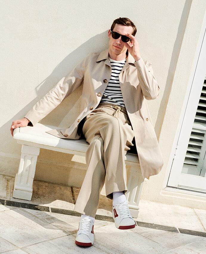 c6b7b595f606 Sandro – coat / J.W. Anderson – T-shirt / Maison Margiela – trousers /  Bally – trainers / Tom Ford – sunglasses