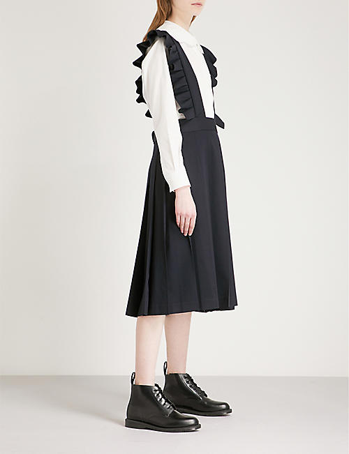 COMME COMME DES GARCONS Frilled sleeveless wool-twill pinafore dress