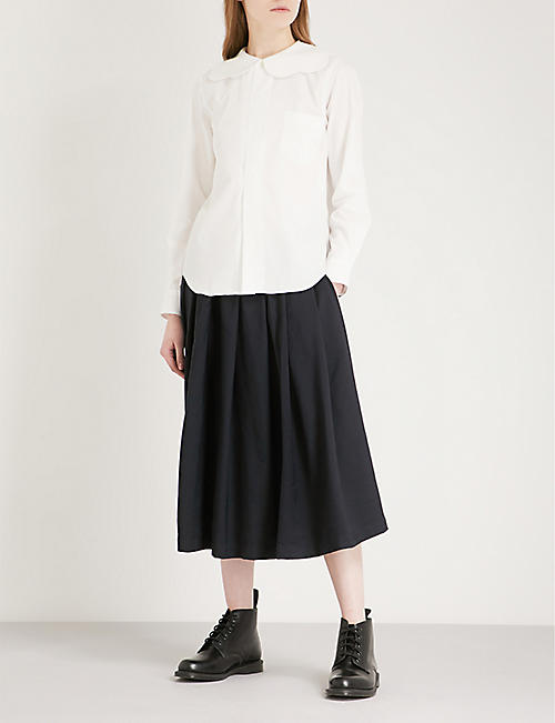 COMME COMME DES GARCONS Frilled-collar cotton-poplin shirt