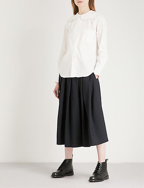 COMME COMME DES GARCONS Pleated high-rise woven-twill midi skirt