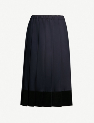 COMME DES GARCONS GIRL Contrast-trim pleated wool skirt