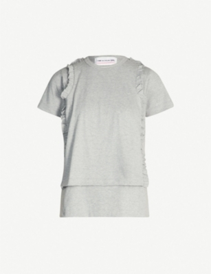 COMME DES GARCONS GIRL Frilled-panel cotton-jersey T-shirt
