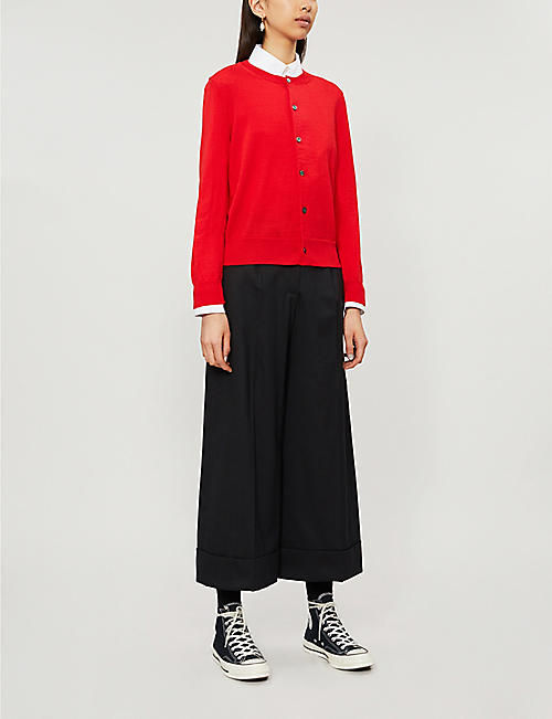 COMME DES GARCONS GIRL Fitted cropped round-neck wool cardigan