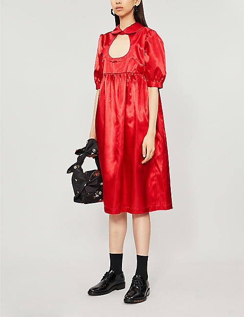 COMME DES GARCONS GIRL A-line puffed-sleeves satin midi dress
