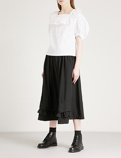 COMME COMME DES GARCONS Frilled-hem high-rise woven midi skirt
