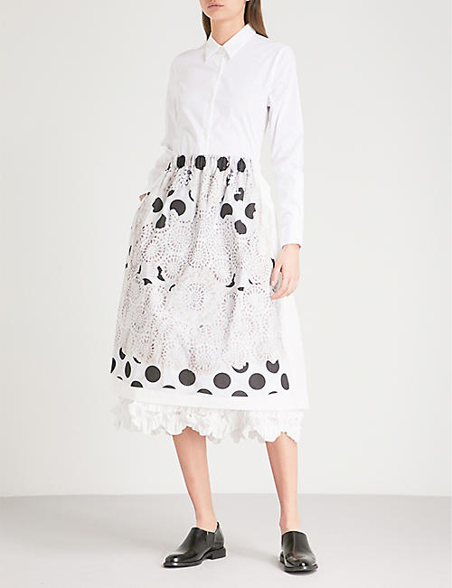 COMME COMME DES GARCONS Lace-embroidered polka dot-print cotton skirt