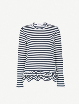 COMME COMME DES GARCONS Frilled hem striped cotton top