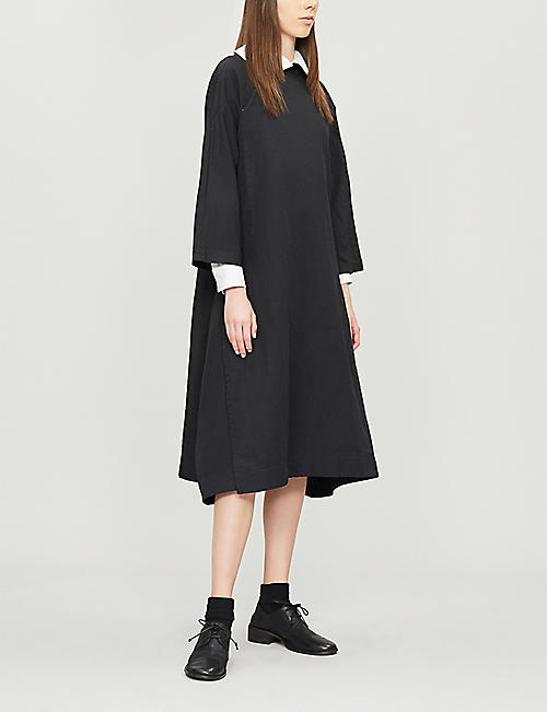 COMME COMME DES GARCONS Mandarin-collar woven dress